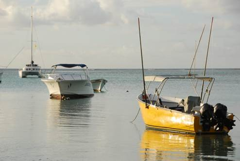 Boats in Tamarin at the West Coast