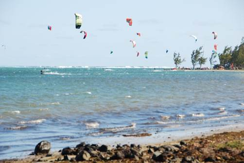 Kite surfing at Le Morne, Mauritius