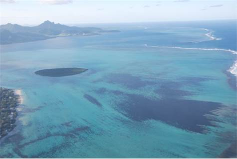 Aerial view of coral reefs, Mauritius
