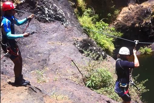 Canyoning at Sept Cascades, Mauritius