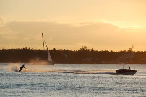 Water Skiing in the lagoon of Grand Baie, Mauritius